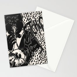 Thank You, Pops, Louis Armstrong Jazz Trumpet Black and White Block Print Stationery Cards
