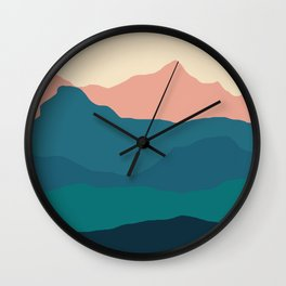Sunset rolling mountains Wall Clock