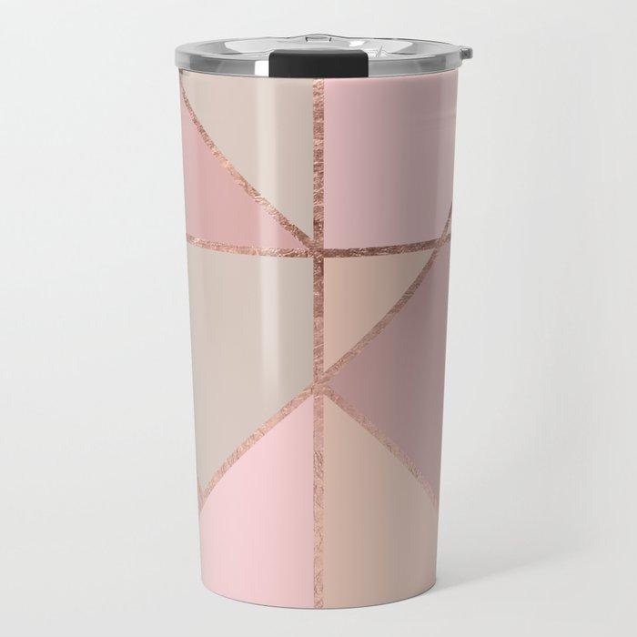 Modern rose gold peach blush pink color block Travel Mug