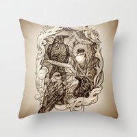 crow Throw Pillows featuring Crow by Alice Macarova