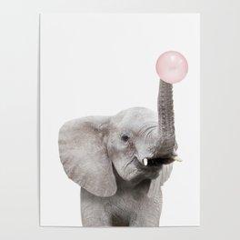 Bubble Gum Baby Elephant Poster