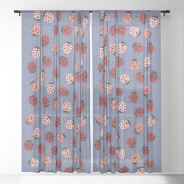 All over Modern Ladybug on Plum Background Sheer Curtain