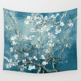 Vincent Van Gogh Almond Blossoms Teal Wall Tapestry