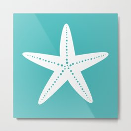 Starfish (White & Teal) Metal Print