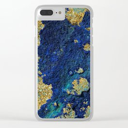 Indigo Teal and Gold Ocean Clear iPhone Case