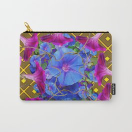 Nut Brown  Pink-Purple-Blue Morning Glory Abstract Carry-All Pouch