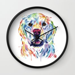 Golden Retriever Watercolor Pet portrait Painting Wall Clock