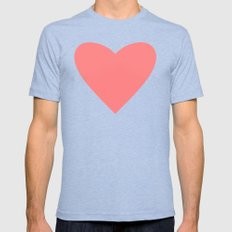 Coral Heart Tri-Blue Mens Fitted Tee 2X-LARGE
