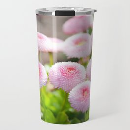 Bellis perennis pomponette flowers Travel Mug