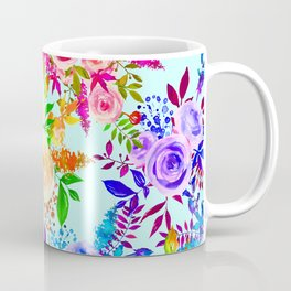 Trendy Pink Lilac Mint Blue Watercolor Floral Coffee Mug