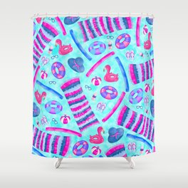 Cute Pink Blue Summer Swimming Pool Illustrations Shower Curtain