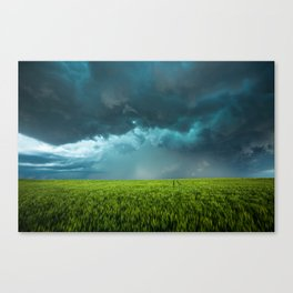 April Showers - Colorful Stormy Sky Over Lush Field in Kansas Canvas Print