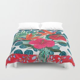 Tropical Bouquet in Living Coral and Emerald Green Duvet Cover