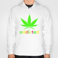 wiz khalifa Hoodies featuring Addicted Marijuana Plant Funny T-Shirt 420 Cannabis Weed Pot Dope Stoner Khalifa by arul85
