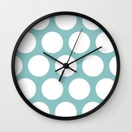 Chalky Blue Large Polka Dots Wall Clock