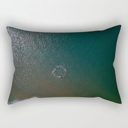 tranche sur mer france aerial drone shot ceremonie circle surfers surfing beach sand Rectangular Pillow