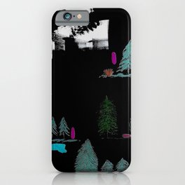 Through The Trees. Trees, Birds, Abstract, Black, White, Jodilynpaintings iPhone Case