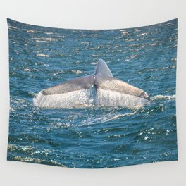 Blue whale tail Waterfall Wall Tapestry