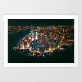 City of Lights New York City (Color) Art Print