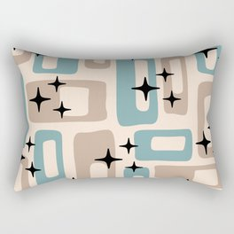 Retro Mid Century Modern Abstract Pattern 227 Blue and Beige Rectangular Pillow
