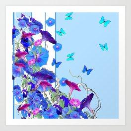 BLUE BUTTERFLIES & PURPLE MORNING GLORIES Art Print