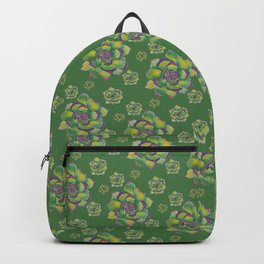 Green and Purple Succulent Backpack