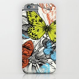 Hand drawn flower and butterflies iPhone Case