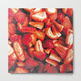 Sumptuous sliced Strawberry Metal Print