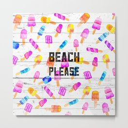 Summer beach typography ice cream watercolor wood Metal Print