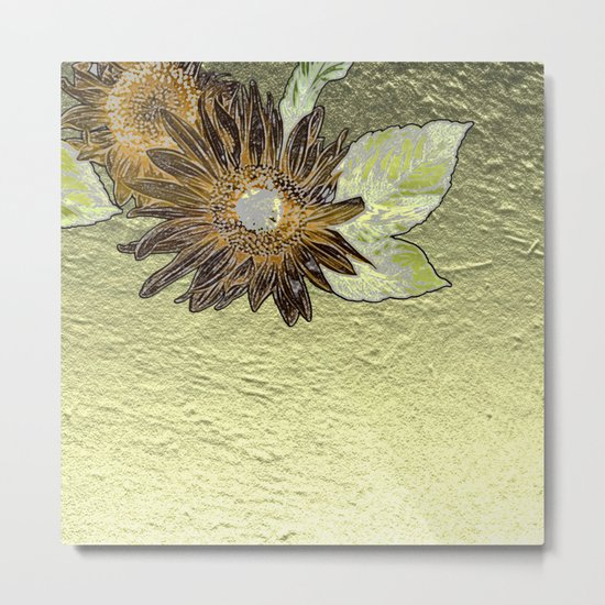 Abstract burnt orange sunflower on golden foil like background Metal Print
