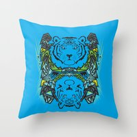 tigers Throw Pillows featuring Tigers #3 by Ornaart