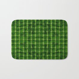 Forest Green and Lime Velvety Gingham Faux Suede Bath Mat