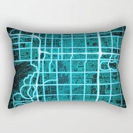 Tempe, AZ, USA, Blue, White, Neon, Glow, City, Map Rectangular Pillow