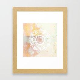 Warrior white mandala on pink Framed Art Print