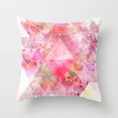Triangles in pink - Watercolor Illustration pattern Throw Pillow