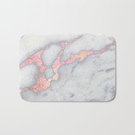 Rosegold Pink on Gray Marble Metallic Foil Style Bath Mat