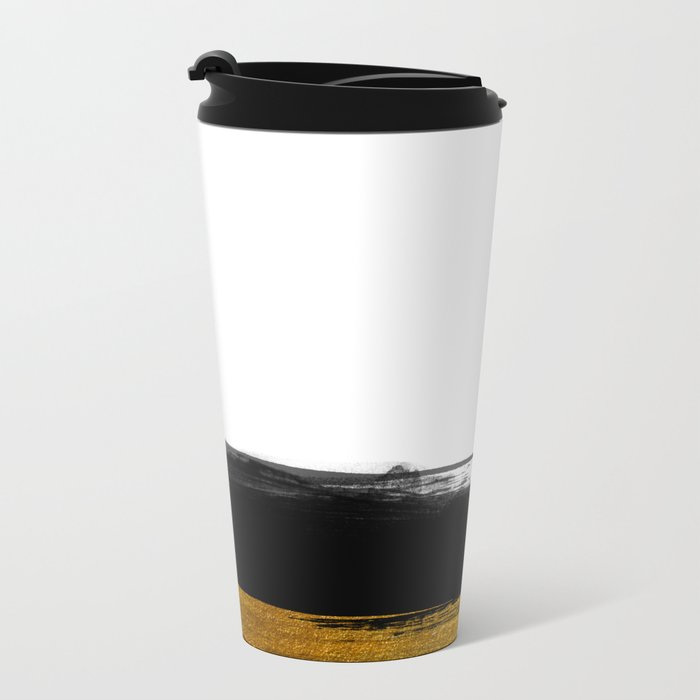 Black and Gold grunge stripes on clear white backround - Stripe-Striped Metal Travel Mug