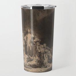Rembrandt - Christ Preaching (The Hundred Guilder Print) (1649) Travel Mug