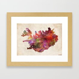 Iceland map Landscape Framed Art Print