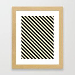 Cream Yellow and Black Diagonal LTR Stripes Framed Art Print