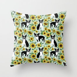 Boston Terrier sunflower floral dog breed pet portrait pet friendly pattern dogs gifts Throw Pillow
