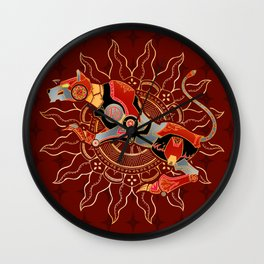 Red Lion Batik Wall Clock
