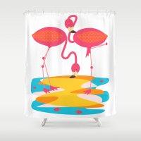 flamingos Shower Curtains featuring Flamingos by Sam Osborne