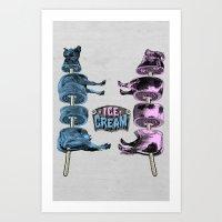 ice cream Art Prints featuring Ice Cream by DIVIDUS
