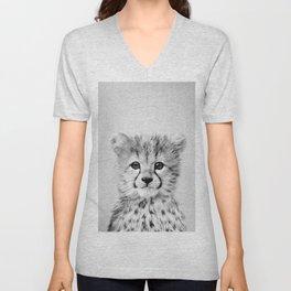 Baby Cheetah - Black & White Unisex V-Neck