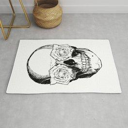 Skull and Roses | Skull and Flowers | Vintage Skull | Black and White | Rug