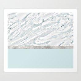 Calacatta verde - silver turquoise Art Print