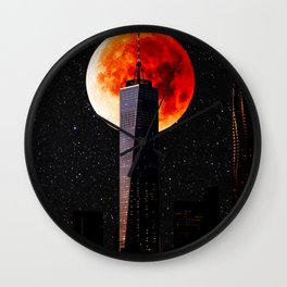 Blood Moon Over One World Trade Center and New York City Skyline Wall Clock