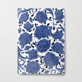Cobalt blue flowers Metal Print