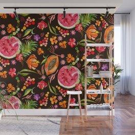 Tropical Fruit Festival in Black | Frutas Tropicales en Negro Wall Mural
